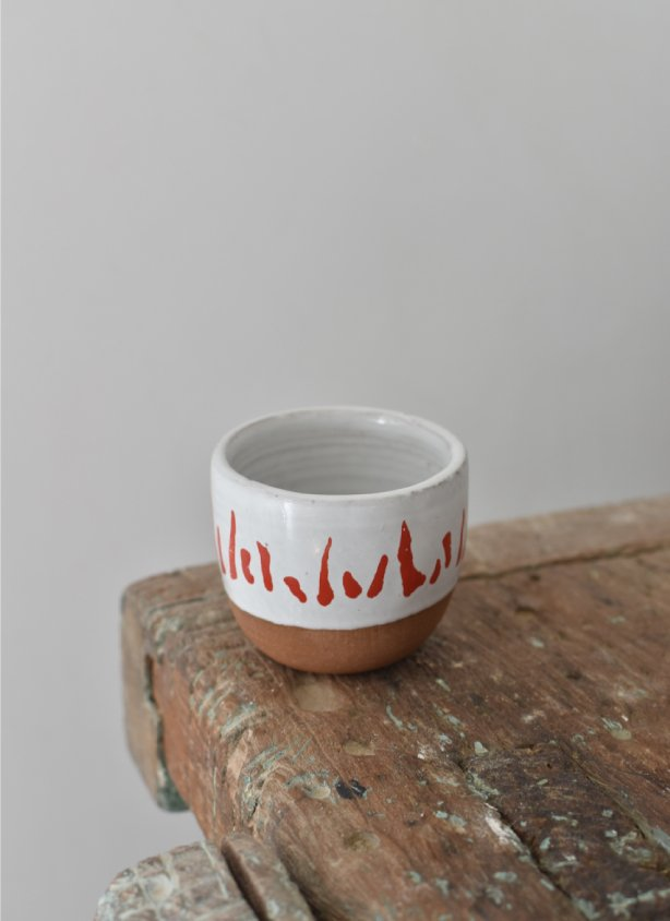 Handcrafted stoneware hand-painted coffee cup