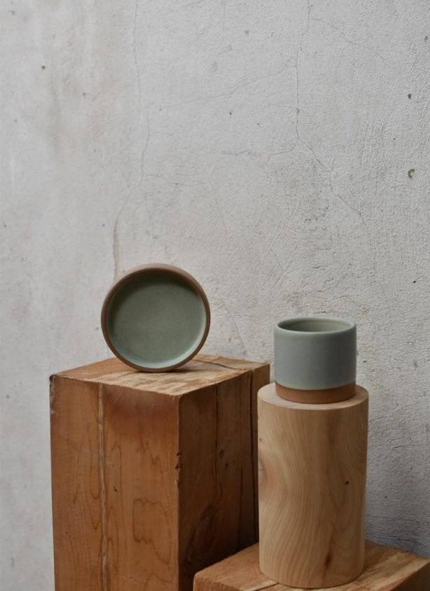 Handmade stoneware unique sage green matte coffee cup and saucer set